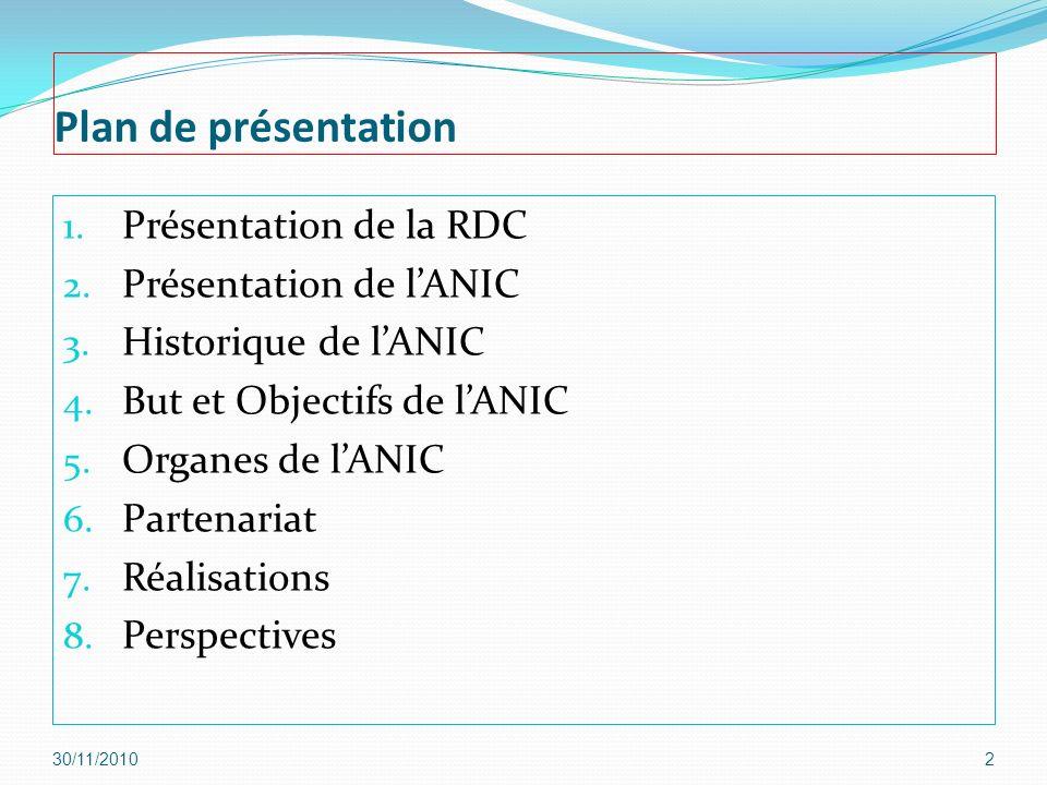 Plan de présentation 1. Présentation de la RDC 2. Présentation de lANIC 3. Historique de lANIC 4. But et Objectifs de lANIC 5. Organes de lANIC 6. Par