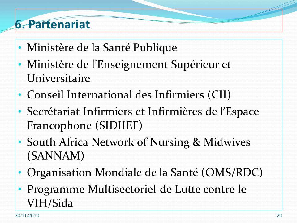 6. Partenariat Ministère de la Santé Publique Ministère de lEnseignement Supérieur et Universitaire Conseil International des Infirmiers (CII) Secréta
