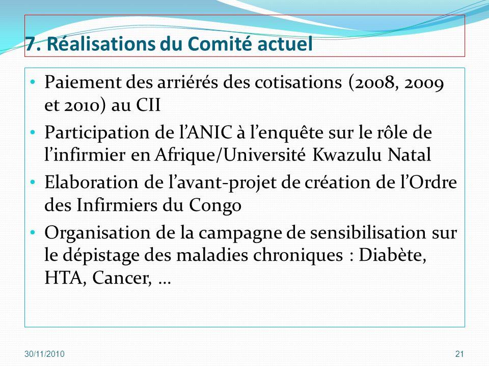7. Réalisations du Comité actuel Paiement des arriérés des cotisations (2008, 2009 et 2010) au CII Participation de lANIC à lenquête sur le rôle de li