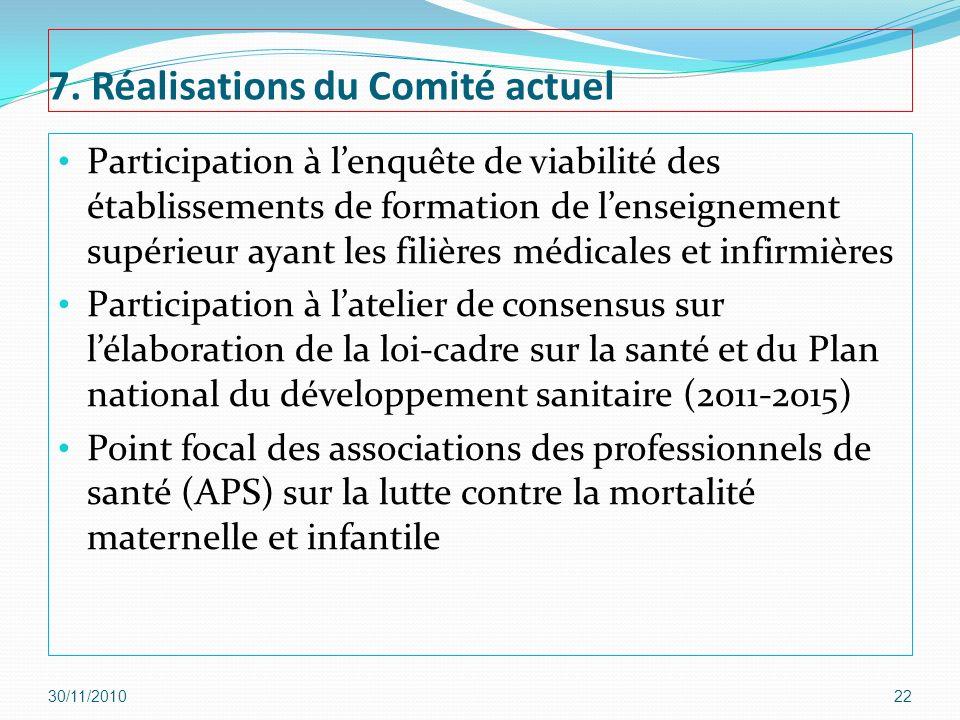 7. Réalisations du Comité actuel Participation à lenquête de viabilité des établissements de formation de lenseignement supérieur ayant les filières m