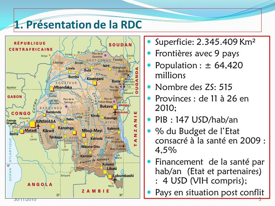 1. Présentation de la RDC Superficie: 2.345.409 Km² Frontières avec 9 pays Population : ± 64,420 millions Nombre des ZS: 515 Provinces : de 11 à 26 en