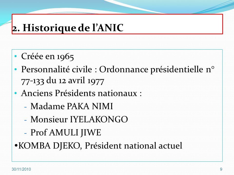 2. Historique de lANIC Créée en 1965 Personnalité civile : Ordonnance présidentielle n° 77-133 du 12 avril 1977 Anciens Présidents nationaux : - Madam