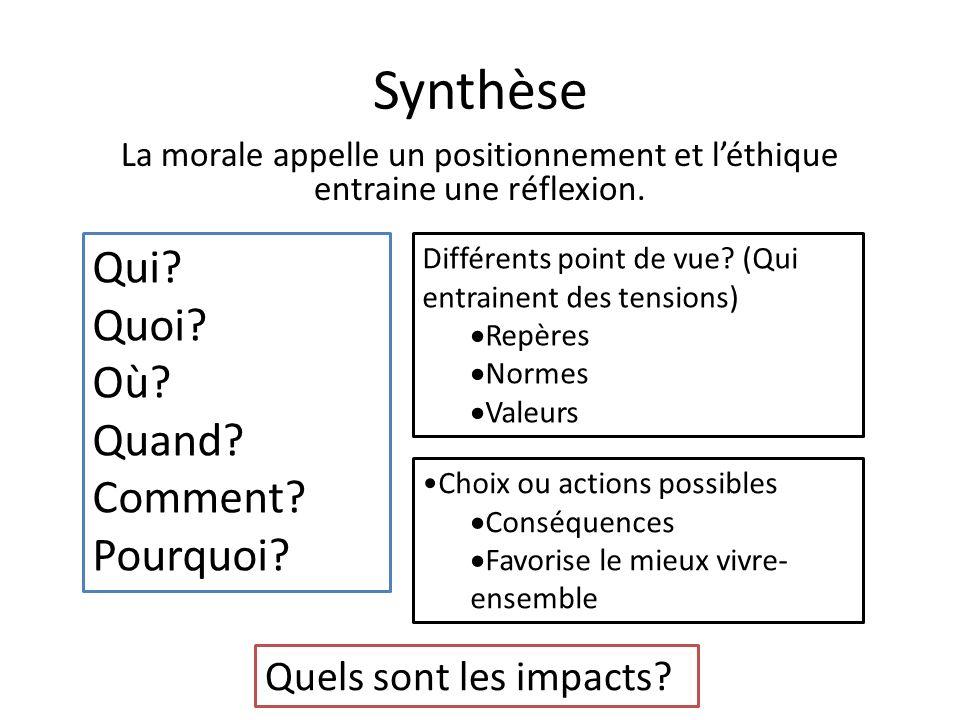 Synthèse La morale appelle un positionnement et léthique entraine une réflexion. Qui? Quoi? Où? Quand? Comment? Pourquoi? Quels sont les impacts? Diff