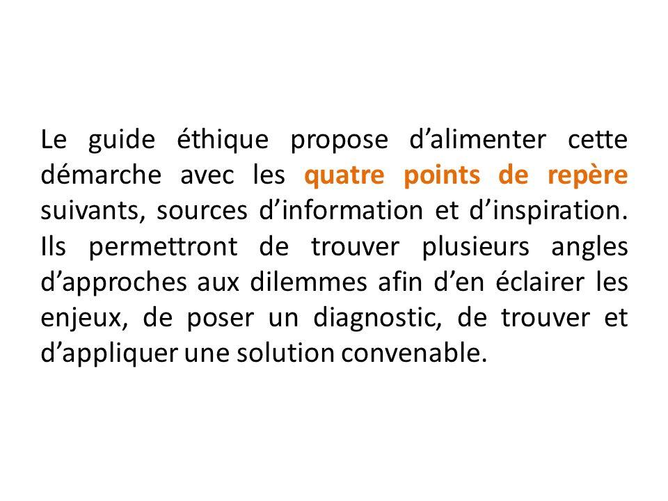 Le guide éthique propose dalimenter cette démarche avec les quatre points de repère suivants, sources dinformation et dinspiration. Ils permettront de