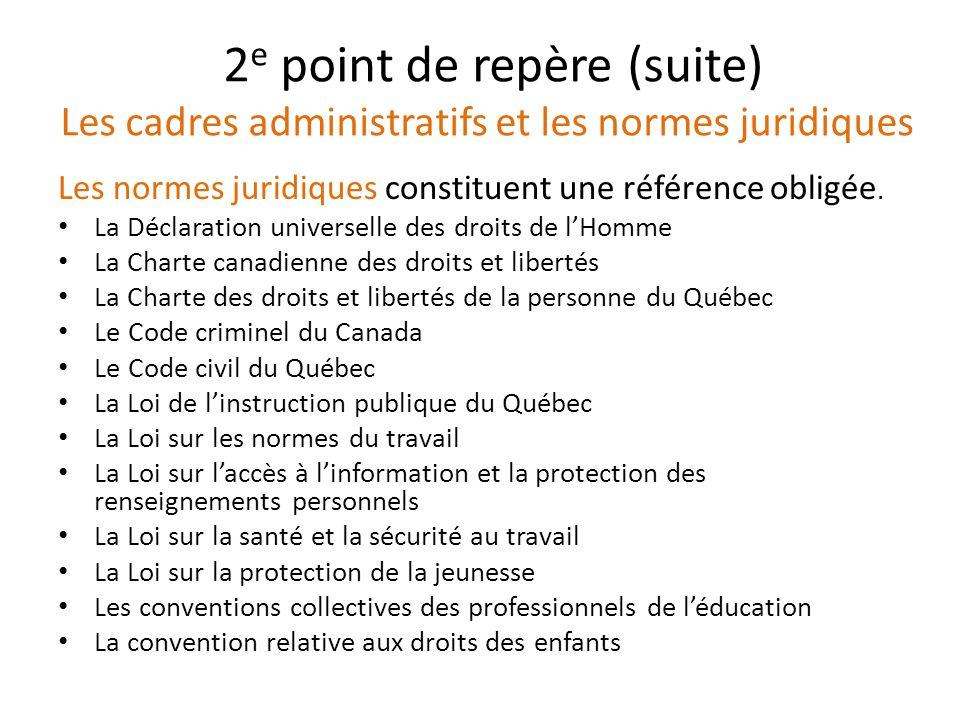 2 e point de repère (suite) Les cadres administratifs et les normes juridiques Les normes juridiques constituent une référence obligée. La Déclaration