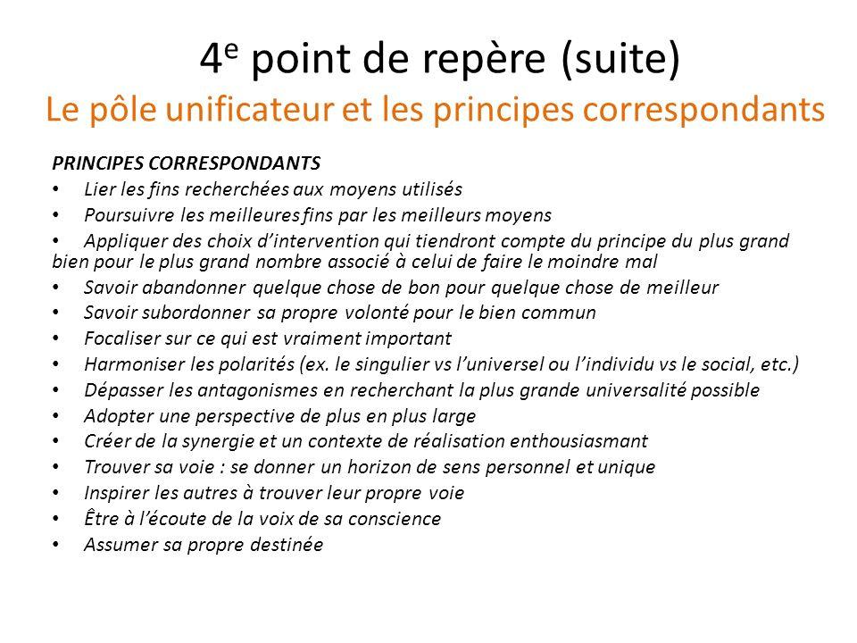 4 e point de repère (suite) Le pôle unificateur et les principes correspondants PRINCIPES CORRESPONDANTS Lier les fins recherchées aux moyens utilisés