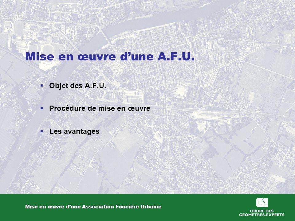 Mise en œuvre dune A.F.U. Mise en œuvre dune Association Foncière Urbaine Objet des A.F.U. Procédure de mise en œuvre Les avantages