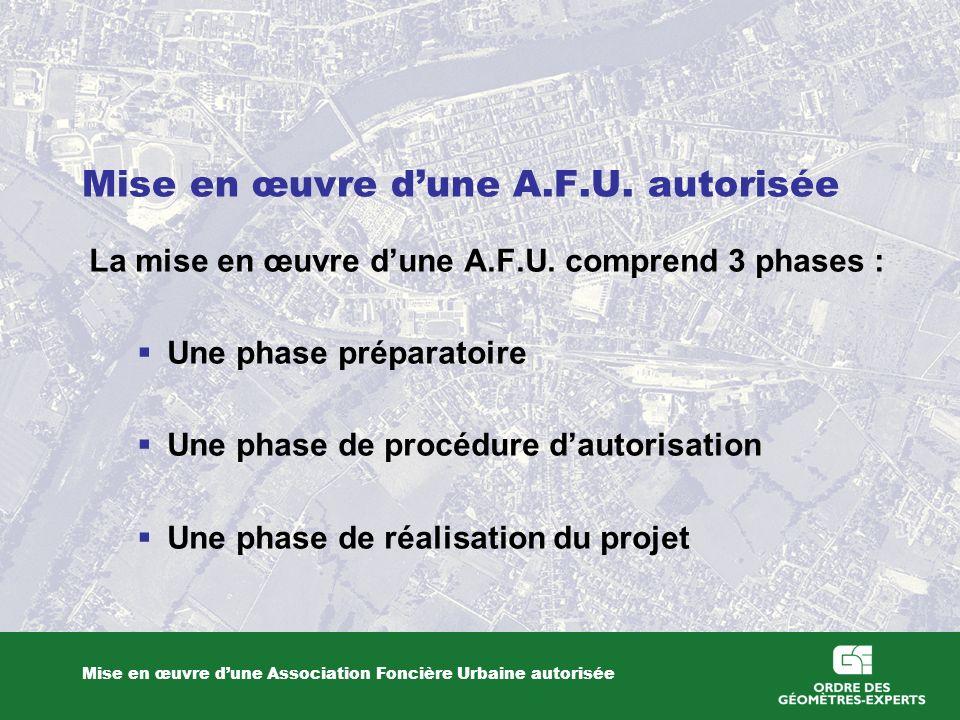 Mise en œuvre dune A.F.U. autorisée Mise en œuvre dune Association Foncière Urbaine autorisée La mise en œuvre dune A.F.U. comprend 3 phases : Une pha