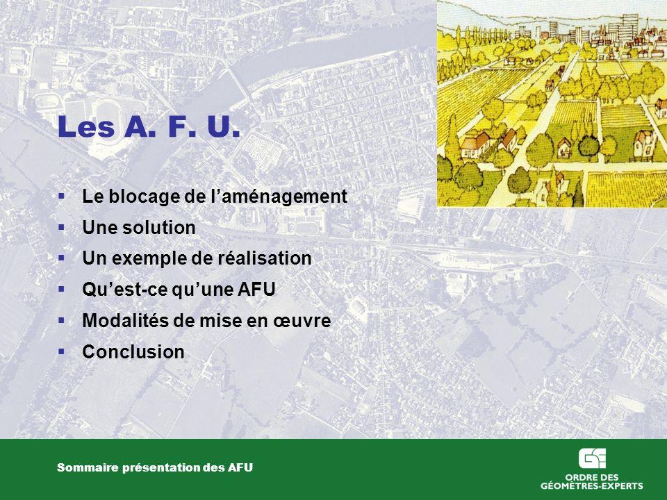 Les A. F. U. Le blocage de laménagement Une solution Un exemple de réalisation Quest-ce quune AFU Modalités de mise en œuvre Conclusion Sommaire prése