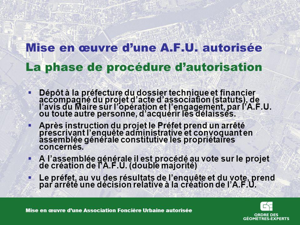 Mise en œuvre dune A.F.U.