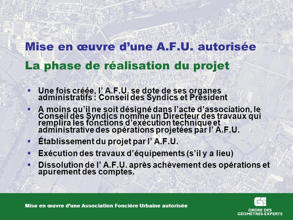 Mise en œuvre dune A.F.U. autorisée La phase de réalisation du projet Mise en œuvre dune Association Foncière Urbaine autorisée Une fois créée, l A.F.