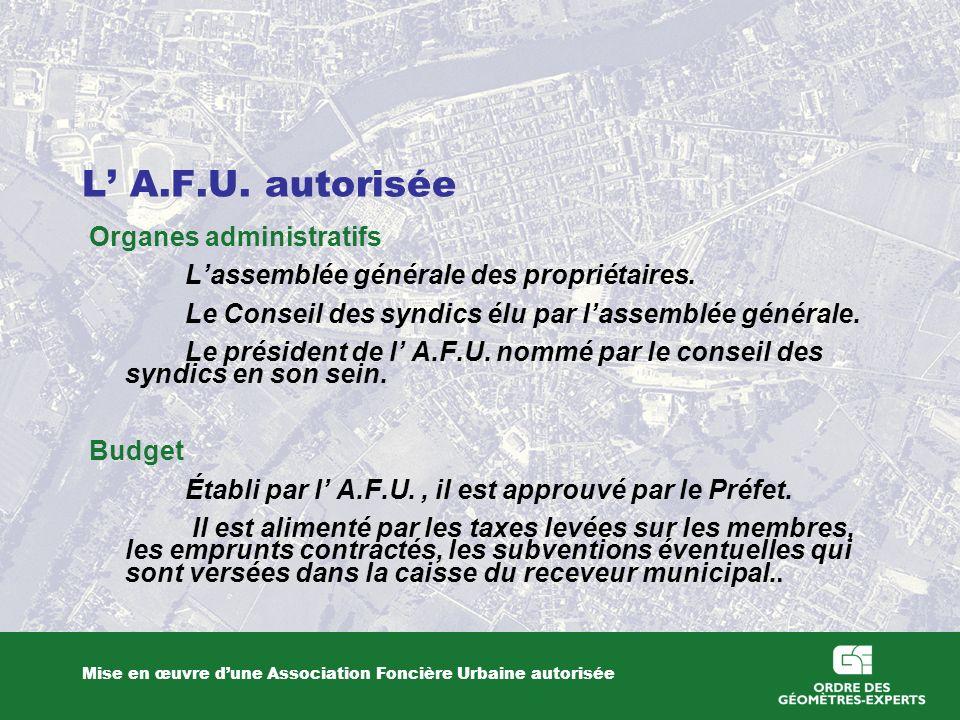 L A.F.U. autorisée Mise en œuvre dune Association Foncière Urbaine autorisée Organes administratifs Lassemblée générale des propriétaires. Le Conseil