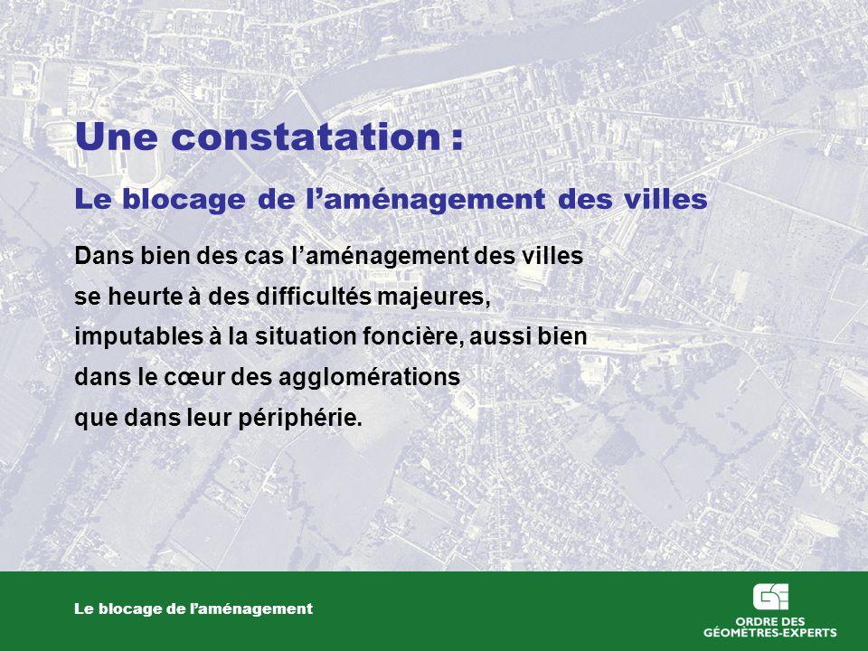 Une constatation : Le blocage de laménagement des villes Dans bien des cas laménagement des villes se heurte à des difficultés majeures, imputables à la situation foncière, aussi bien dans le cœur des agglomérations que dans leur périphérie.