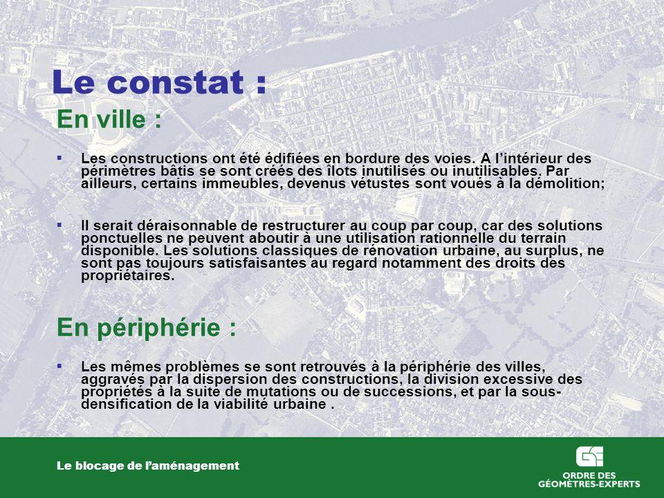 Le constat : Le blocage de laménagement En ville : Les constructions ont été édifiées en bordure des voies. A lintérieur des périmètres bâtis se sont
