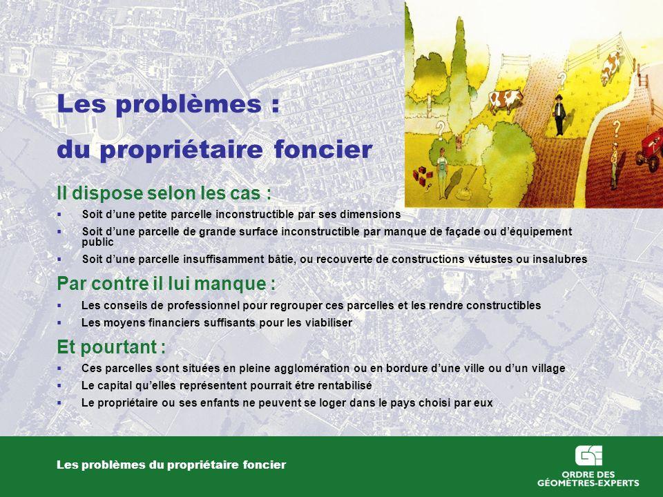 Les problèmes : du propriétaire foncier Les problèmes du propriétaire foncier Il dispose selon les cas : Soit dune petite parcelle inconstructible par