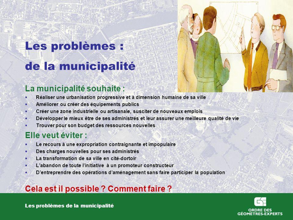 Les problèmes : de la municipalité Les problèmes de la municipalité La municipalité souhaite : Réaliser une urbanisation progressive et à dimension hu
