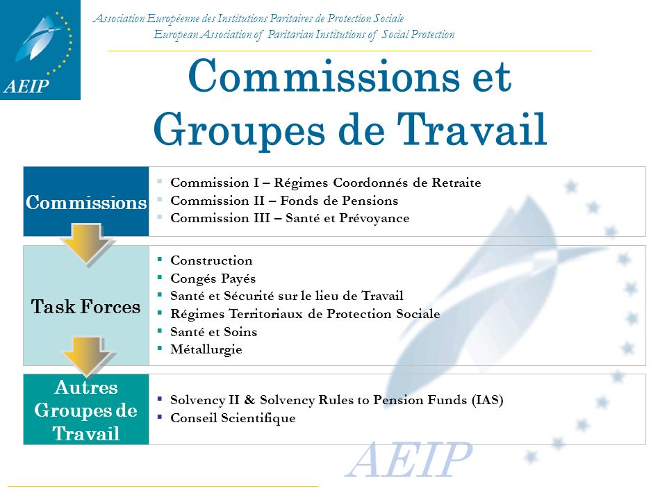 Association Européenne des Institutions Paritaires de Protection Sociale European Association of Paritarian Institutions of Social Protection Commissi