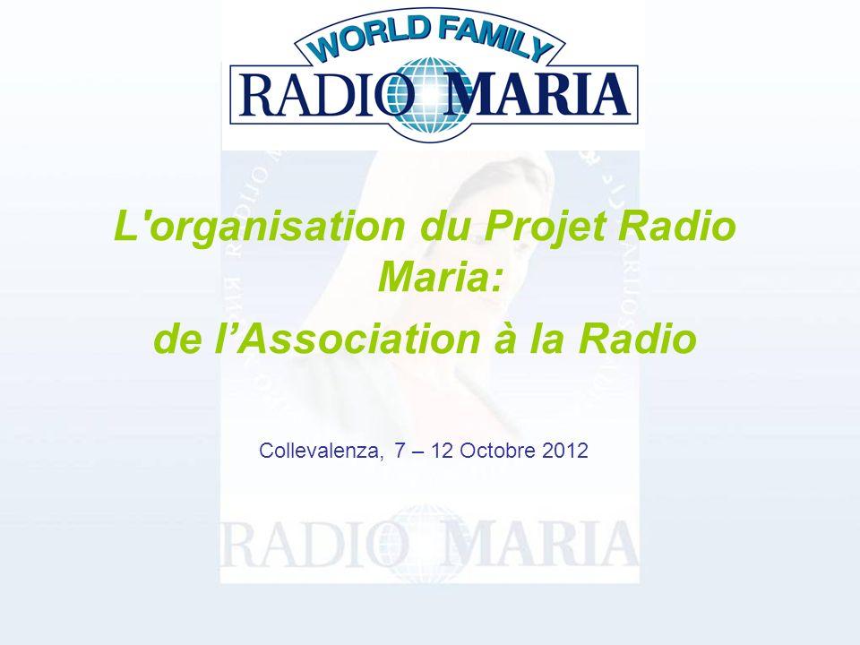 L organisation du Projet Radio Maria: de lAssociation à la Radio Collevalenza, 7 – 12 Octobre 2012