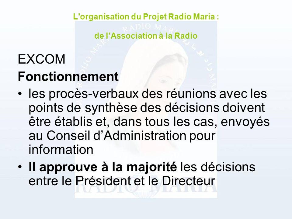 EXCOM Fonctionnement les procès-verbaux des réunions avec les points de synthèse des décisions doivent être établis et, dans tous les cas, envoyés au Conseil dAdministration pour information Il approuve à la majorité les décisions entre le Président et le Directeur L organisation du Projet Radio Maria : de lAssociation à la Radio