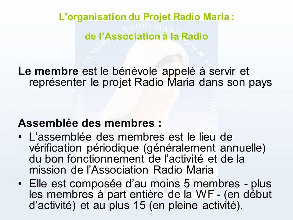 Le membre est le bénévole appelé à servir et représenter le projet Radio Maria dans son pays Assemblée des membres : Lassemblée des membres est le lieu de vérification périodique (généralement annuelle) du bon fonctionnement de lactivité et de la mission de lAssociation Radio Maria Elle est composée dau moins 5 membres - plus les membres à part entière de la WF - (en début dactivité) et au plus 15 (en pleine activité).