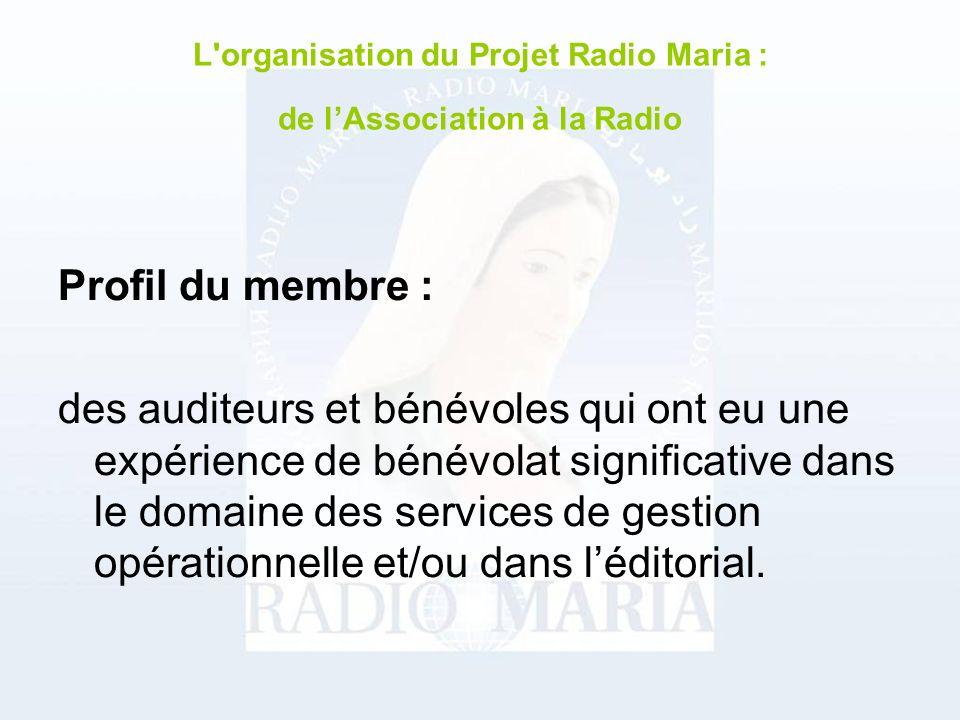 Profil du membre : des auditeurs et bénévoles qui ont eu une expérience de bénévolat significative dans le domaine des services de gestion opérationnelle et/ou dans léditorial.