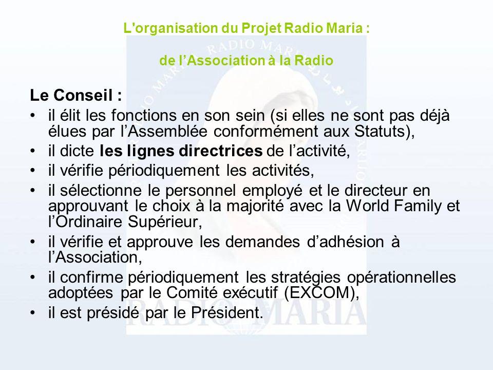 EXCOM Il sagit du comité exécutif chargé de la gestion ordinaire de Radio Maria, il est composé de : membres permanents et invités selon les besoins.