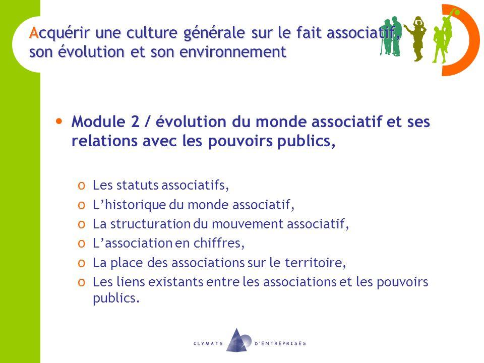 Acquérir une culture générale sur le fait associatif, son évolution et son environnement Module 2 / évolution du monde associatif et ses relations ave
