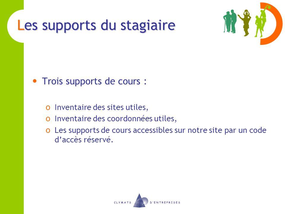 Les supports du stagiaire Trois supports de cours : o Inventaire des sites utiles, o Inventaire des coordonnées utiles, o Les supports de cours access