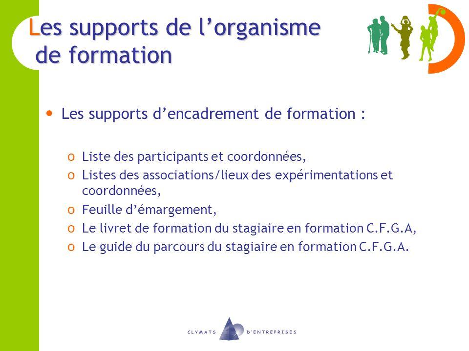 Les supports de lorganisme de formation Les supports dencadrement de formation : o Liste des participants et coordonnées, o Listes des associations/li