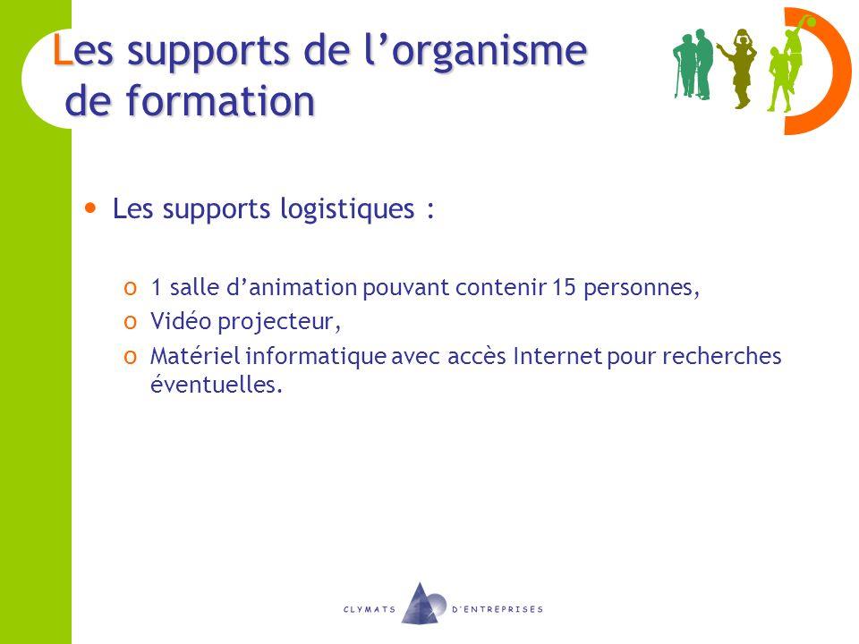 Les supports de lorganisme de formation Les supports logistiques : o 1 salle danimation pouvant contenir 15 personnes, o Vidéo projecteur, o Matériel