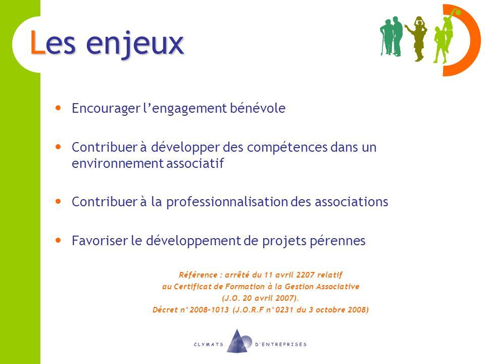 Les enjeux Encourager lengagement bénévole Contribuer à développer des compétences dans un environnement associatif Contribuer à la professionnalisati