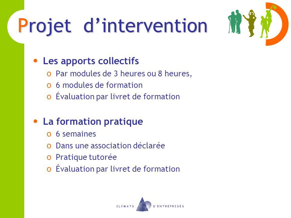 Projet dintervention Les apports collectifs o Par modules de 3 heures ou 8 heures, o 6 modules de formation o Évaluation par livret de formation La fo