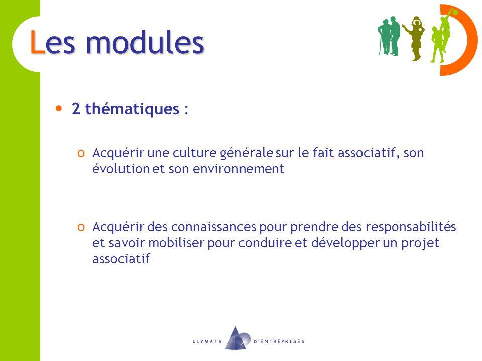 Les modules 2 thématiques : o Acquérir une culture générale sur le fait associatif, son évolution et son environnement o Acquérir des connaissances po