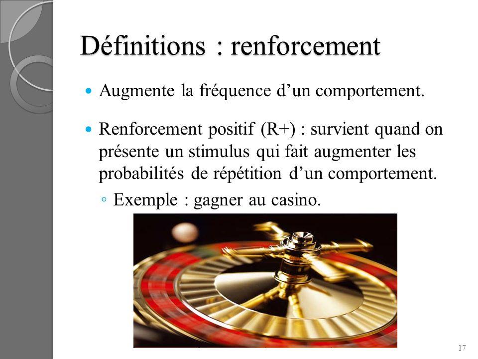 Définitions : renforcement Augmente la fréquence dun comportement. Renforcement positif (R+) : survient quand on présente un stimulus qui fait augment