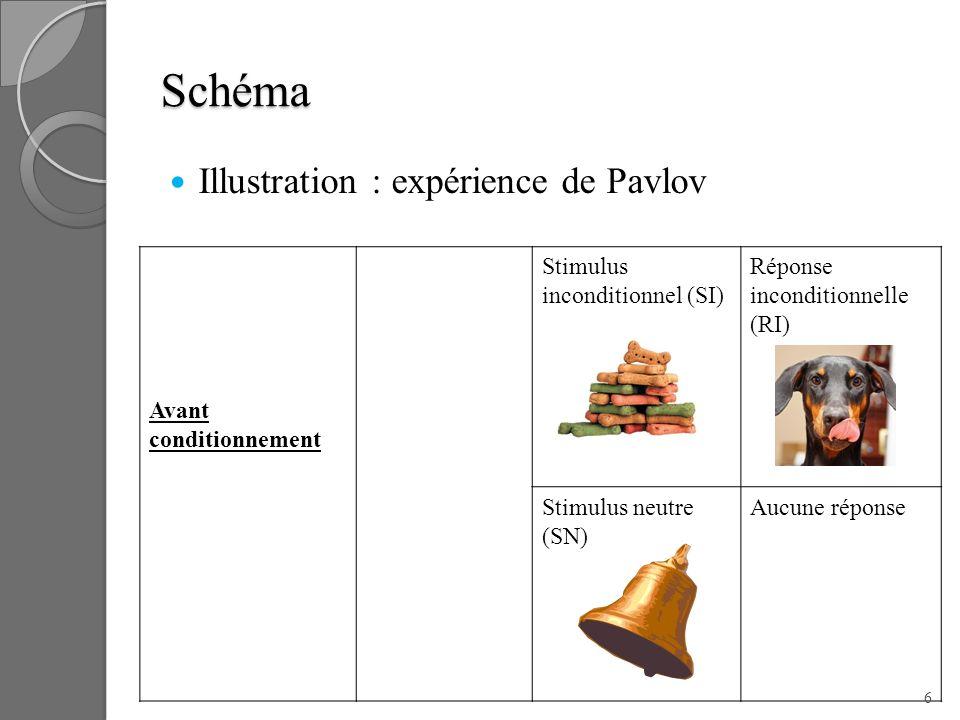 Schéma Illustration : expérience de Pavlov Avant conditionnement Stimulus inconditionnel (SI) Réponse inconditionnelle (RI) Stimulus neutre (SN) Aucun