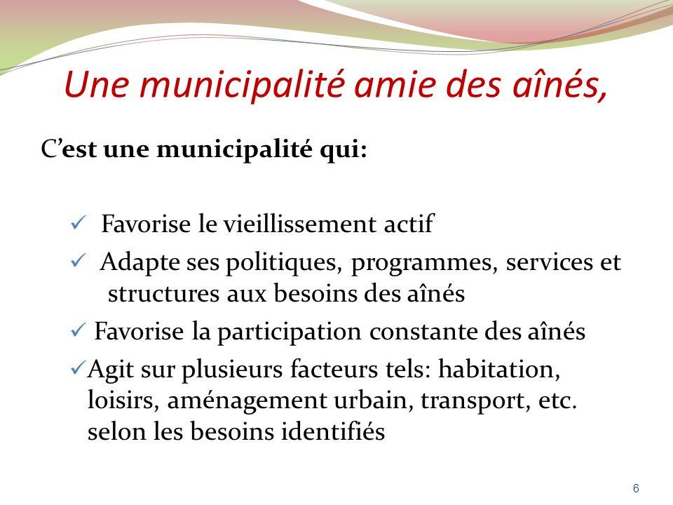Une municipalité amie des aînés, Cest une municipalité qui: Favorise le vieillissement actif Adapte ses politiques, programmes, services et structures