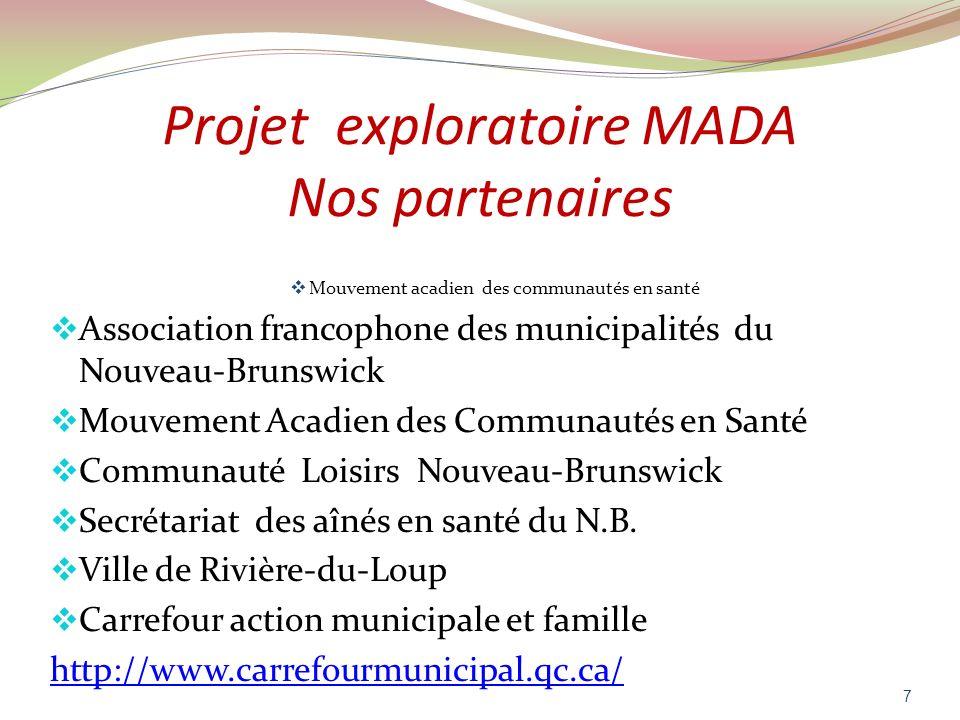 Projet exploratoire MADA Nos partenaires Mouvement acadien des communautés en santé Association francophone des municipalités du Nouveau-Brunswick Mou