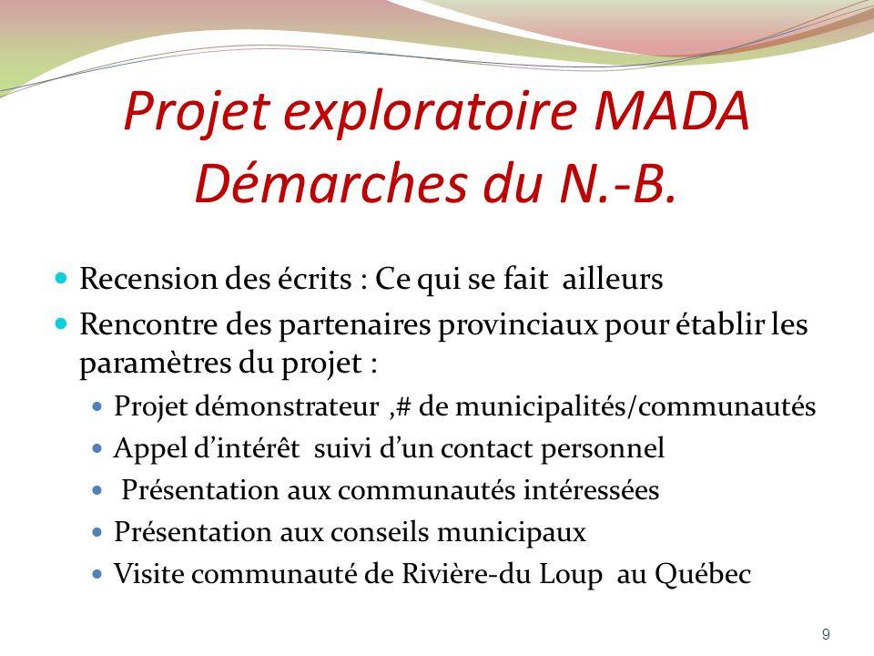Projet exploratoire MADA Démarches du N.-B. Recension des écrits : Ce qui se fait ailleurs Rencontre des partenaires provinciaux pour établir les para