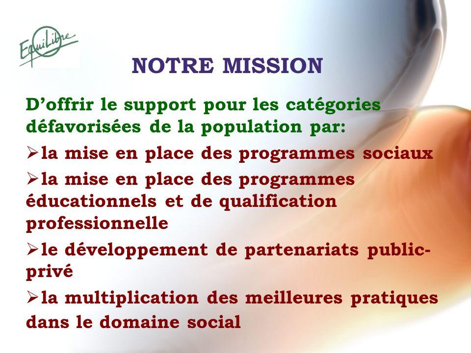 NOTRE MISSION Doffrir le support pour les catégories défavorisées de la population par: la mise en place des programmes sociaux la mise en place des p