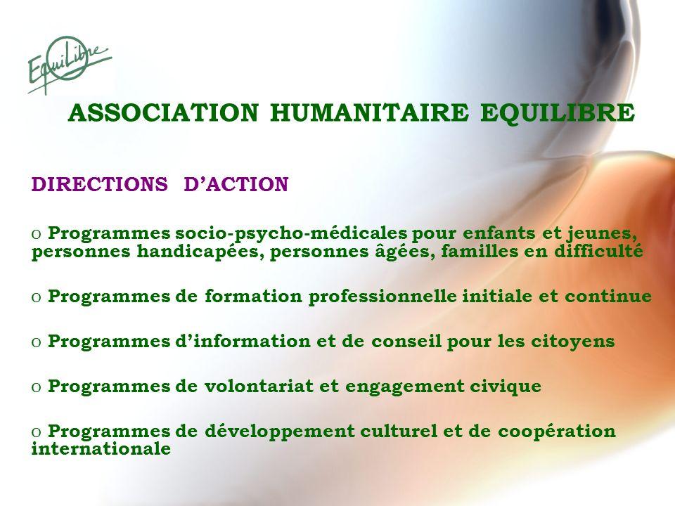 DIRECTIONS DACTION o Programmes socio-psycho-médicales pour enfants et jeunes, personnes handicapées, personnes âgées, familles en difficulté o Progra