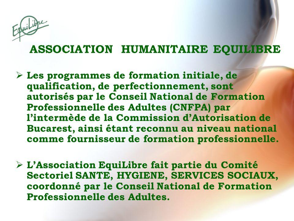 ASSOCIATION HUMANITAIRE EQUILIBRE Les programmes de formation initiale, de qualification, de perfectionnement, sont autorisés par le Conseil National