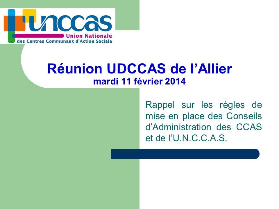 Réunion UDCCAS de lAllier mardi 11 février 2014 Rappel sur les règles de mise en place des Conseils dAdministration des CCAS et de lU.N.C.C.A.S.