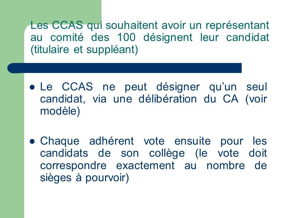 Les CCAS qui souhaitent avoir un représentant au comité des 100 désignent leur candidat (titulaire et suppléant) Le CCAS ne peut désigner quun seul ca