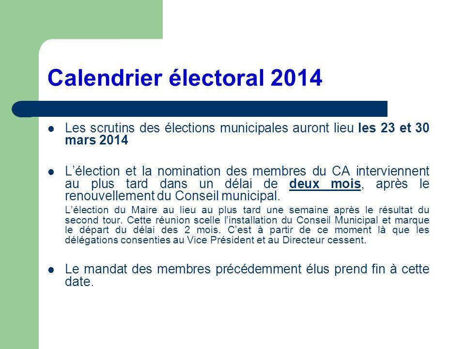 Calendrier électoral 2014 Les scrutins des élections municipales auront lieu les 23 et 30 mars 2014 Lélection et la nomination des membres du CA inter
