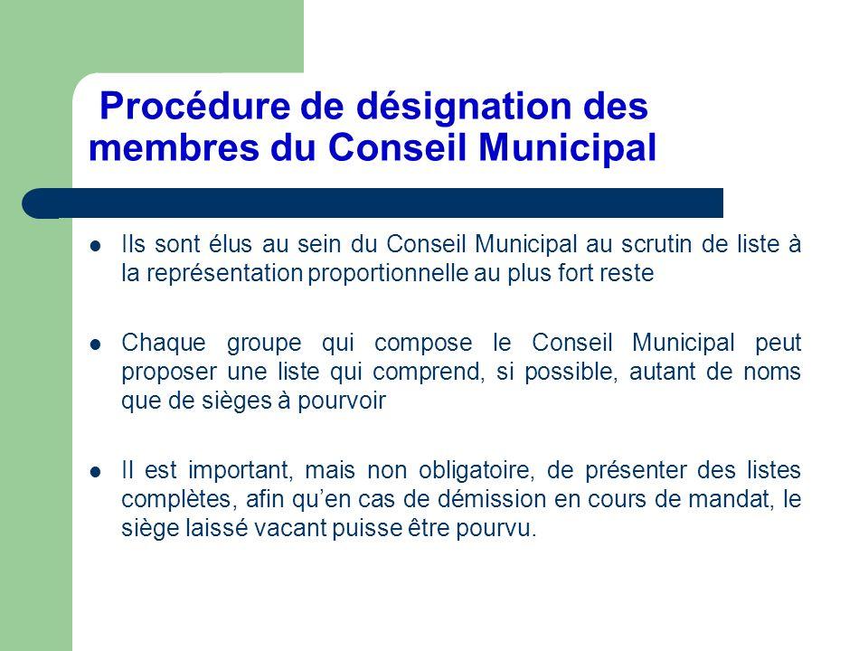 Procédure de désignation des membres du Conseil Municipal Ils sont élus au sein du Conseil Municipal au scrutin de liste à la représentation proportio