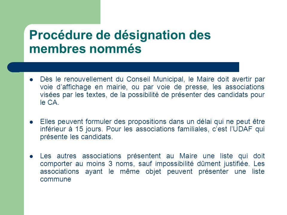 Procédure de désignation des membres nommés Dès le renouvellement du Conseil Municipal, le Maire doit avertir par voie daffichage en mairie, ou par vo