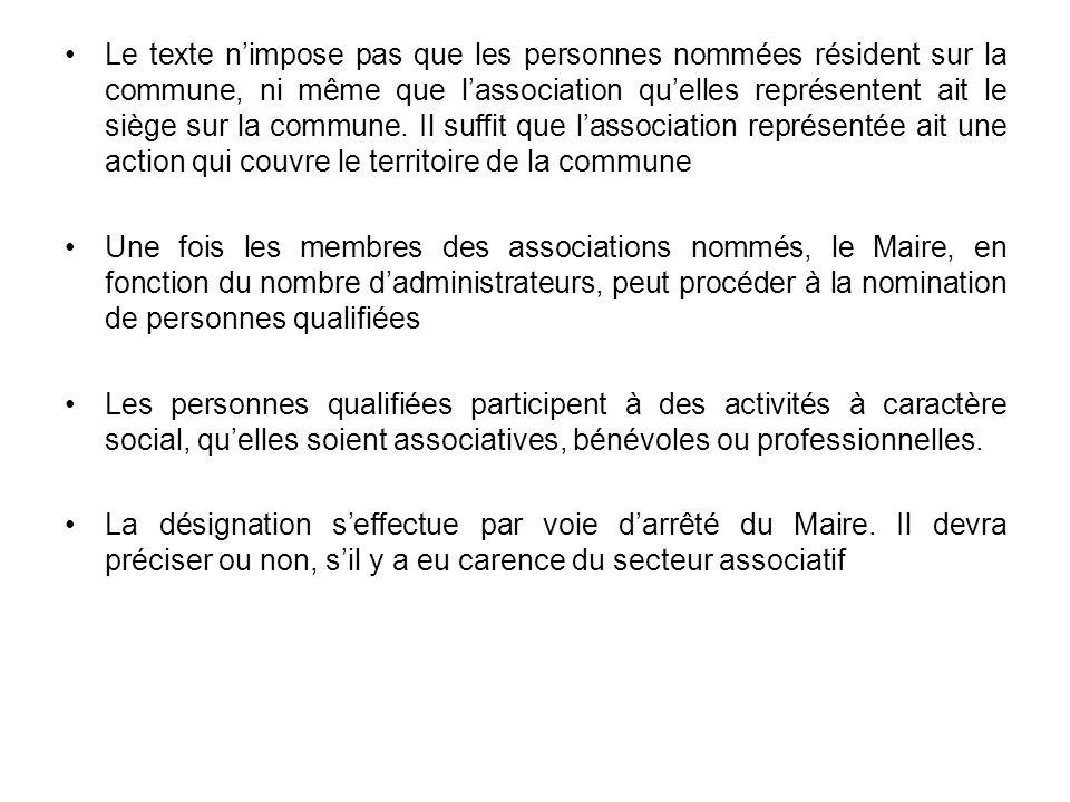 Le texte nimpose pas que les personnes nommées résident sur la commune, ni même que lassociation quelles représentent ait le siège sur la commune. Il