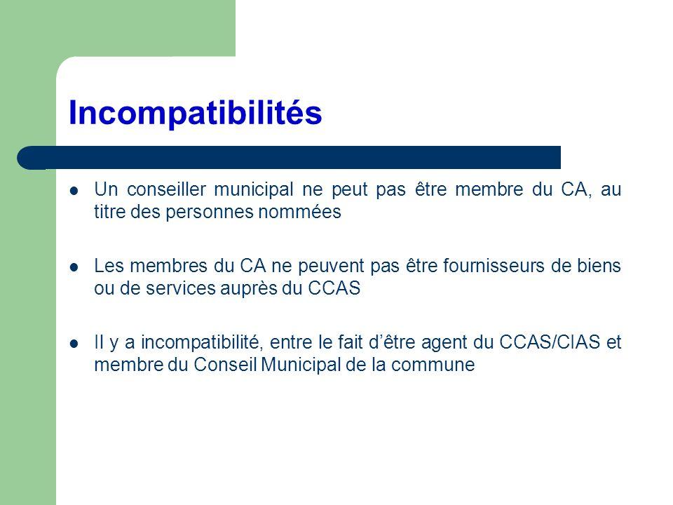 Incompatibilités Un conseiller municipal ne peut pas être membre du CA, au titre des personnes nommées Les membres du CA ne peuvent pas être fournisse
