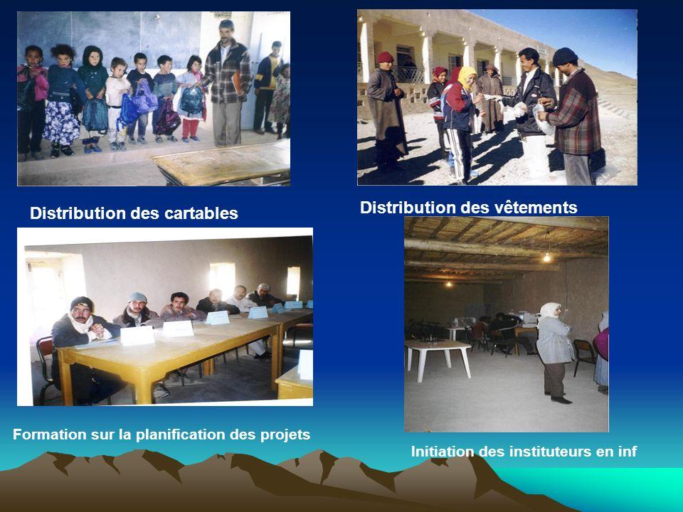 LA SCOLARISATION: Mise en fonction de Jardin d'enfants d'Agoudal. Distribution des fournitures scolaires (1016 Cartables et programmes scolaires). Equ