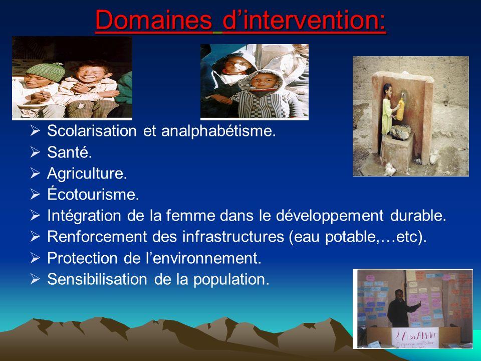 Domaines dintervention: Scolarisation et analphabétisme.